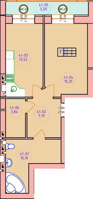 ЖК Ваш Добробут: планування 1-кімнатної квартири 55.9 м2, тип 1-55.9