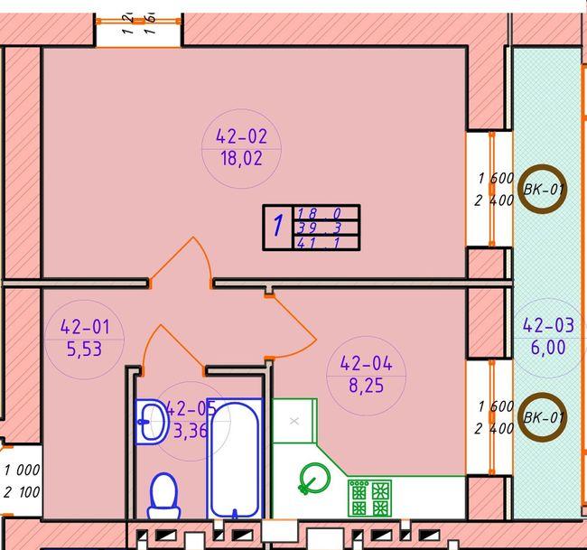ЖК Ваш Добробут: планировка 1-комнатной квартиры 41.1 м2, тип 1-41.1