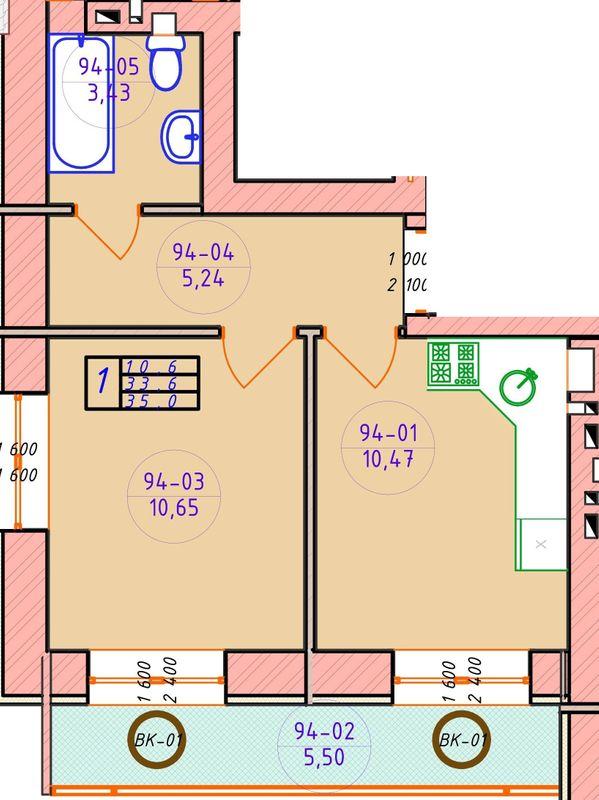 ЖК Ваш Добробут: планування 1-кімнатної квартири 35 м2, тип 1-35