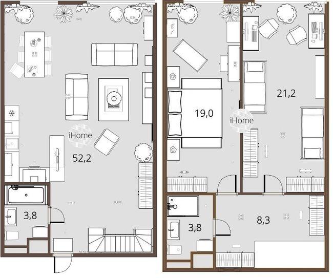 ЖК iHome: планування дворівневої квартири 108.3 м2, тип 3п б