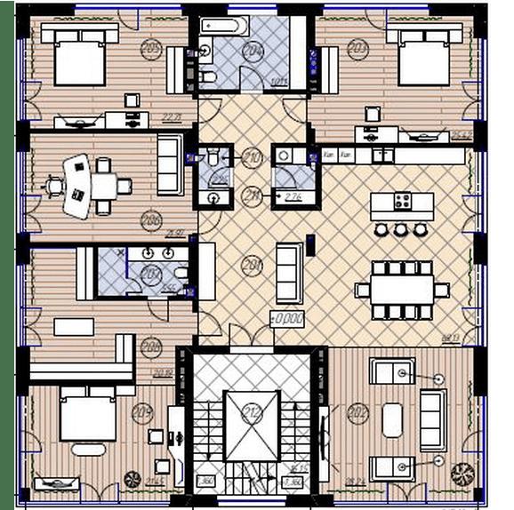 Клубний будинок New York: планування 4-кімнатної квартири 250 м2, тип 4-250.0