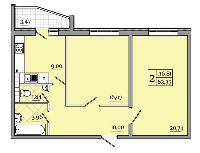 ЖК Северный: планировка 2-комнатной квартиры 63.35 м2, тип 2-63.35