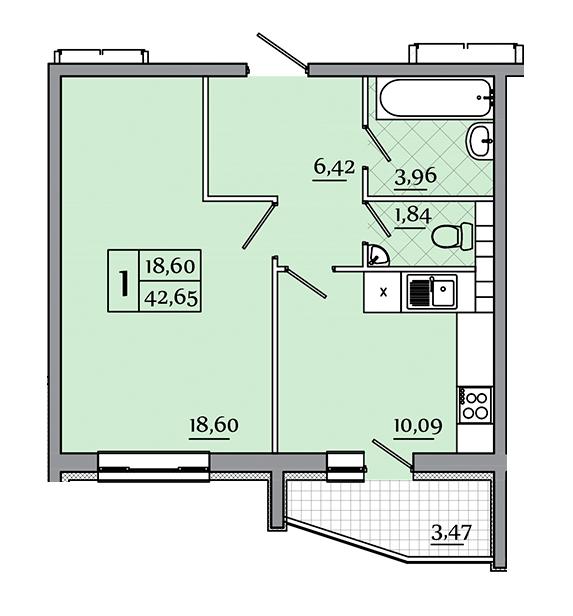 ЖК Северный: планировка 1-комнатной квартиры 42.65 м2, тип 1-42.65
