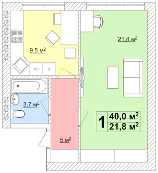 ЖК Супутник-Теремки: планування 1-кімнатної квартири 40 м2, тип 1-40.0