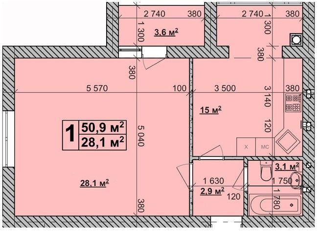 ЖК Супутник-Теремки: планування 1-кімнатної квартири 50.9 м2, тип 1-50.9