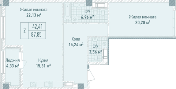 ЖК Бульвар Фонтанов: планировка 2-комнатной квартиры 87.85 м2, тип 2-87.85