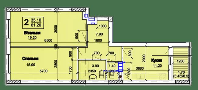 ЖК Южный квартал: планировка 2-комнатной квартиры 61.2 м2, тип 2А