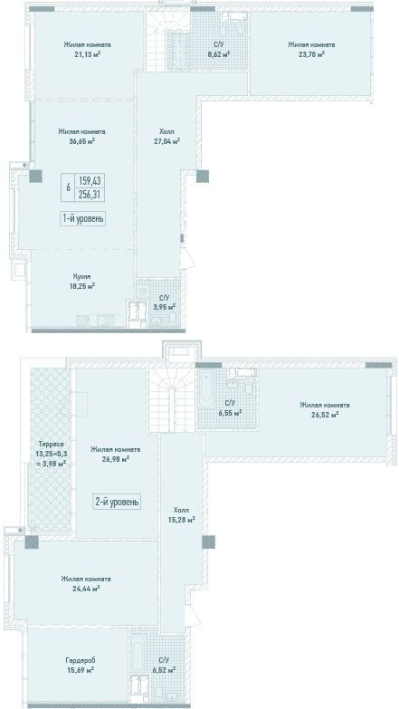 ЖК Бульвар Фонтанів: планування дворівневої квартири 256.31 м2, тип 6-256.31