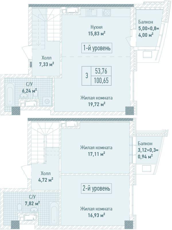 ЖК Бульвар Фонтанів: планування дворівневої квартири 100.65 м2, тип 3-100.65