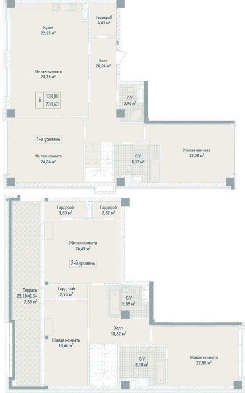 ЖК Бульвар Фонтанів: планування дворівневої квартири 238.63 м2, тип 6-238.63