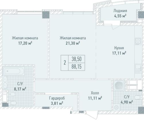 ЖК Бульвар Фонтанов: планировка 2-комнатной квартиры 88.15 м2, тип 2-88.15