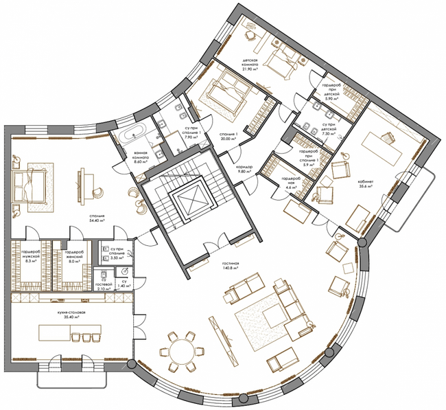ЖК Renaissance Residence: планування 5-кімнатної квартири 375.6 м2, тип 5-375.6