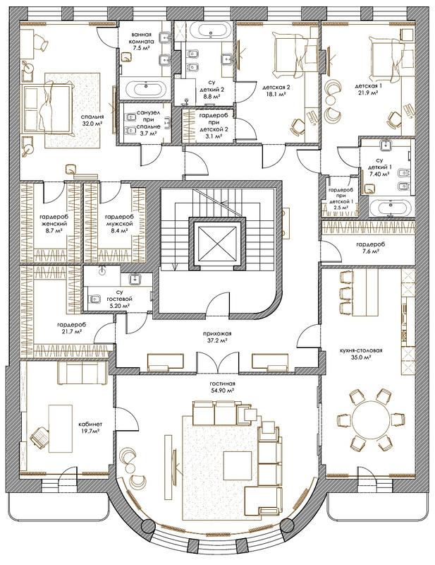ЖК Renaissance Residence: планування 5-кімнатної квартири 293 м2, тип 5-293