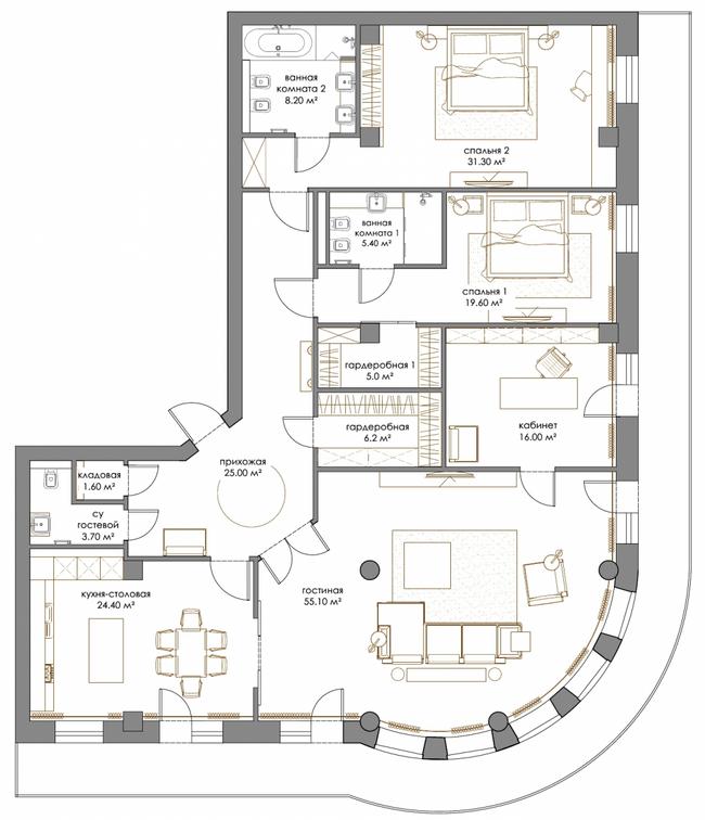 ЖК Renaissance Residence: планировка 4-комнатной квартиры 200.6 м2, тип 4-200.6