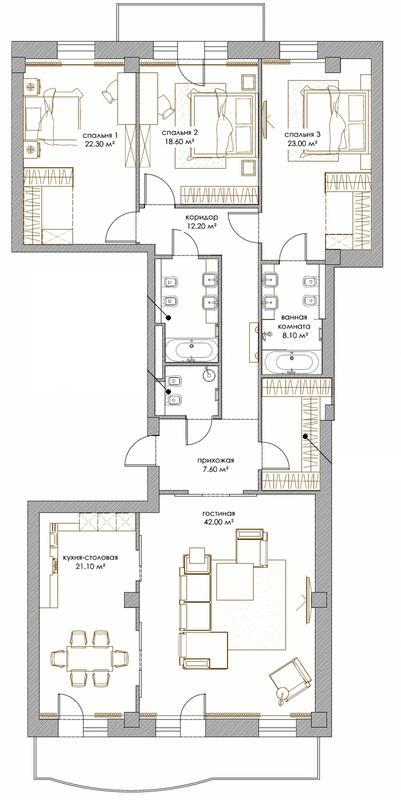 ЖК Renaissance Residence: планування 4-кімнатної квартири 172.8 м2, тип 4-172.8