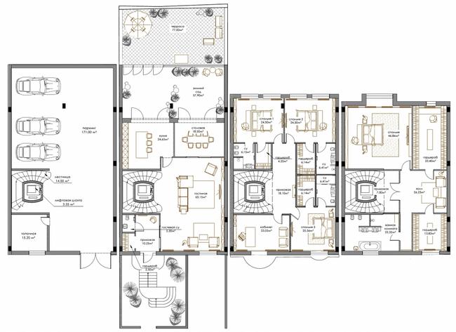 ЖК Renaissance Residence: планування дворівневої квартири 722.6 м2, тип 6-722.6