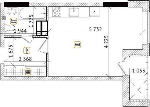 ЖК Champion City (Демеевский квартал): планировка 1-комнатной квартиры 33.55 м2, тип 1-33.55