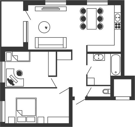 ЖК Stoletof: планування 2-кімнатної квартири 80 м2, тип 2-80.0