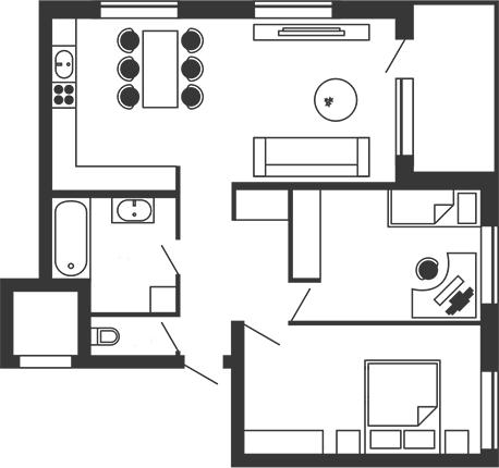 ЖК Stoletof: планування 2-кімнатної квартири 96 м2, тип 2-96.0