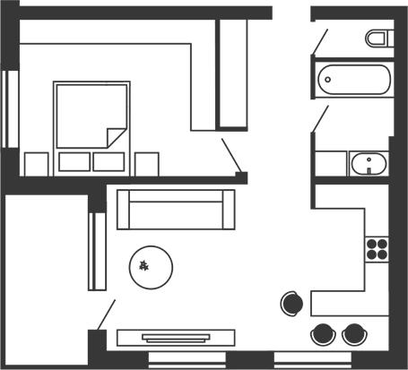 ЖК Stoletof: планировка 1-комнатной квартиры 57.7 м2, тип 1-57.7