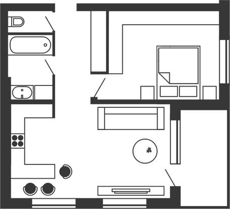 ЖК Stoletof: планировка 1-комнатной квартиры 67.6 м2, тип 1-67.6