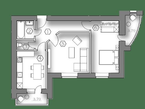 ЖК Медовый: планировка 2-комнатной квартиры 56.5 м2, тип 2-56.50