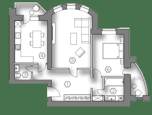 ЖК Медовый: планировка 2-комнатной квартиры 68 м2, тип 2-68.00