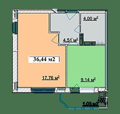 ЖК Ягода: планировка 1-комнатной квартиры 36.44 м2, тип 1-36.44