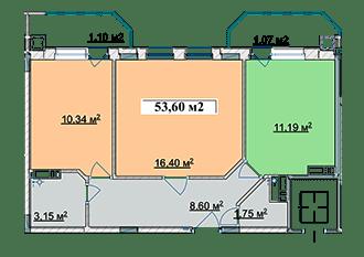 ЖК Ягода: планировка 2-комнатной квартиры 53.6 м2, тип 2-53.60