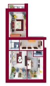 ЖК Forest Land: планування 2-кімнатної квартири 65.35 м2, тип Челсі