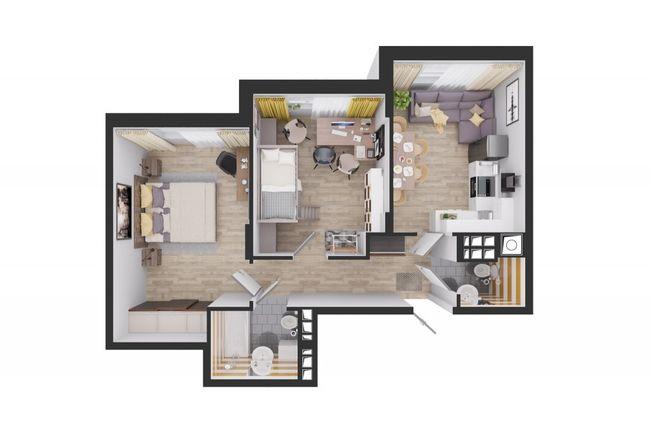 Жилой дом №1: планування 2-кімнатної квартири 59.7 м2, тип С3-03