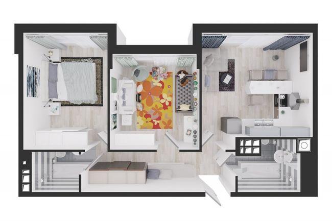 Жилой дом №1: планировка 2-комнатной квартиры 65.6 м2, тип С3-09