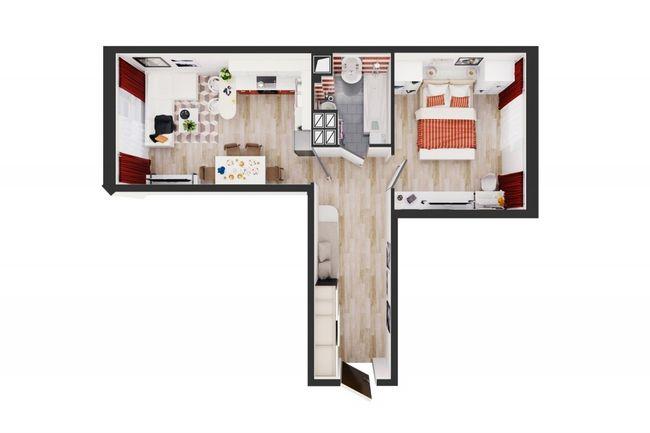 Жилой дом №1: планування 1-кімнатної квартири 53.2 м2, тип С4-01