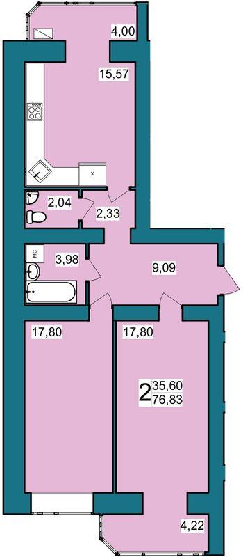 ЖК Lakeberry: планування 2-кімнатної квартири 76.83 м2, тип 2-76.83