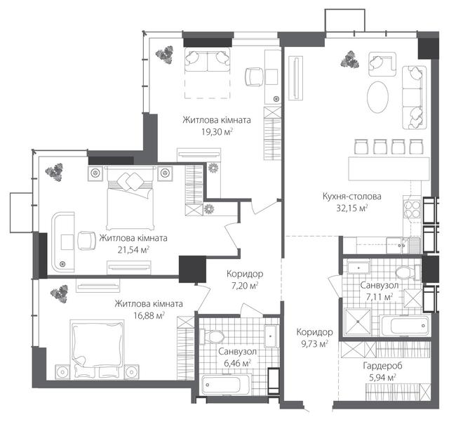 ЖК RiverStone: планування 3-кімнатної квартири 126.31 м2, тип 3-126.31