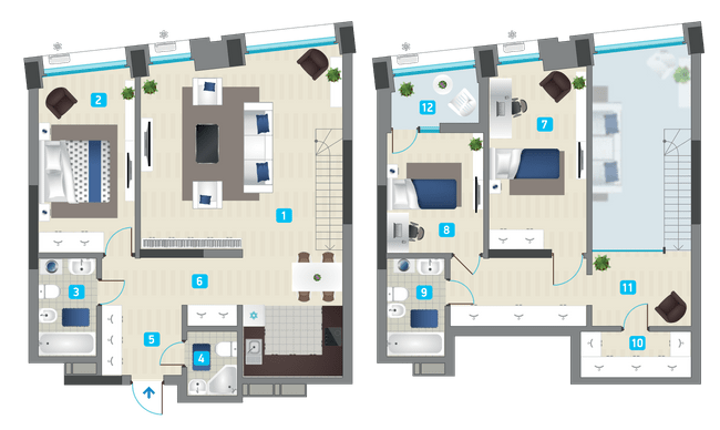 ЖК Славутич: планировка двухуровневой квартиры 135.57 м2, тип 3-135.57