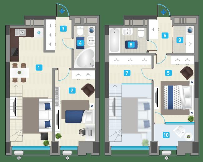 ЖК Славутич: планировка двухуровневой квартиры 83.51 м2, тип 2-83.51