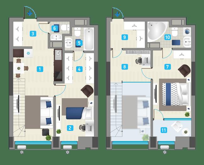 ЖК Славутич: планировка двухуровневой квартиры 85.2 м2, тип 2-85.20