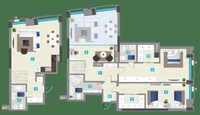 ЖК Славутич: планировка двухуровневой квартиры 146.61 м2, тип 3-146.61