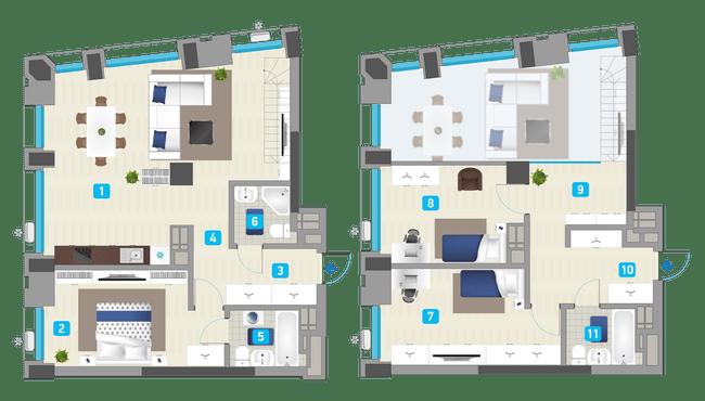 ЖК Славутич: планировка двухуровневой квартиры 114.6 м2, тип 3-114.60