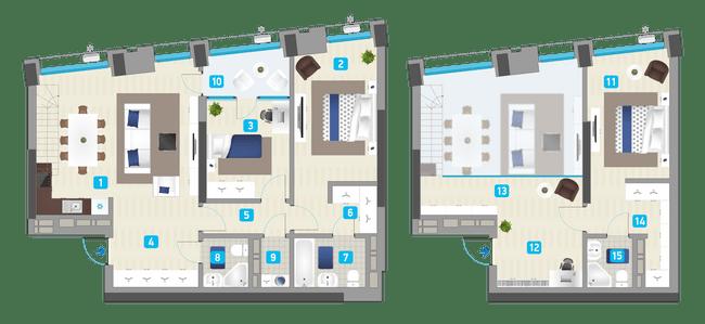 ЖК Славутич: планировка двухуровневой квартиры 127.63 м2, тип 3-127.63