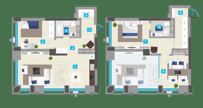 ЖК Славутич: планировка двухуровневой квартиры 99.93 м2, тип 2-99.93