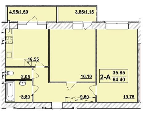 ЖК Академ містечко: планування 2-кімнатної квартири 64.4 м2, тип 2-64.40