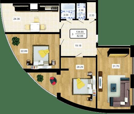 ЖК Paradise: планировка 3-комнатной квартиры 134.65 м2, тип 3-134.65