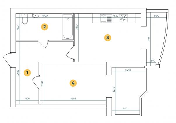 ЖК Ковалевский: планировка 1-комнатной квартиры 58.24 м2, тип 1-58.24