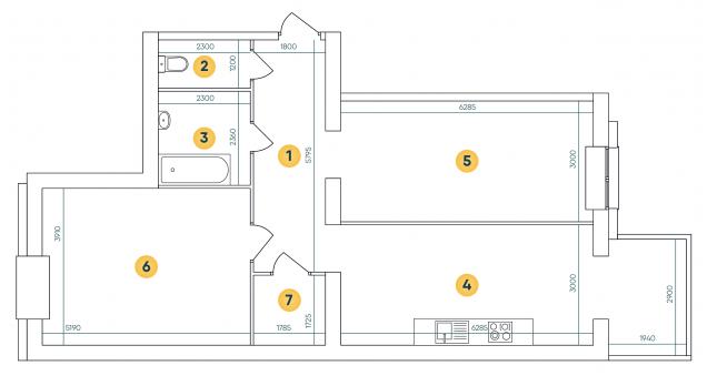 ЖК Ковалевский: планировка 2-комнатной квартиры 84.18 м2, тип 2-84.18