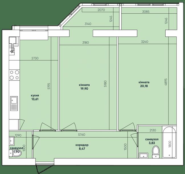 ЖК Ковалевский: планировка 2-комнатной квартиры 67.9 м2, тип 2-67.9