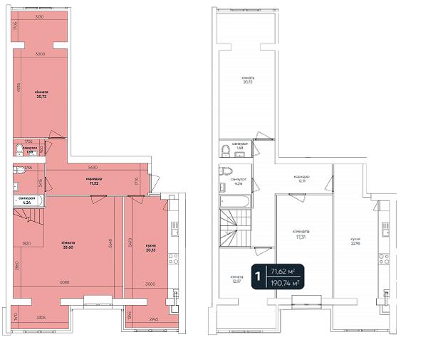 ЖК Ковалевский: планировка двухуровневой квартиры 190.74 м2, тип 5-190.74