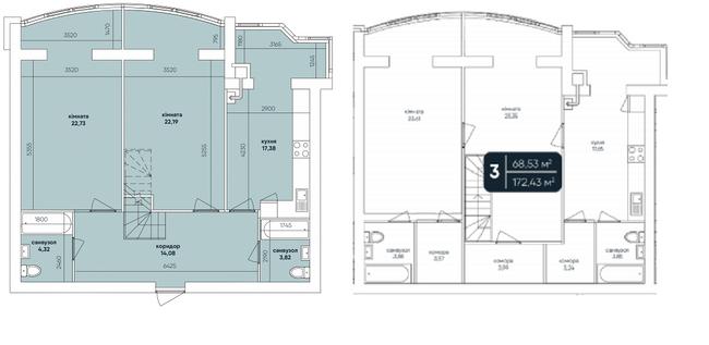 ЖК Ковалевский: планировка двухуровневой квартиры 172.43 м2, тип 4-172.43
