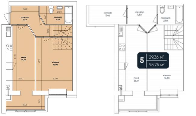 ЖК Ковалевский: планировка двухуровневой квартиры 95.75 м2, тип 2-95.75